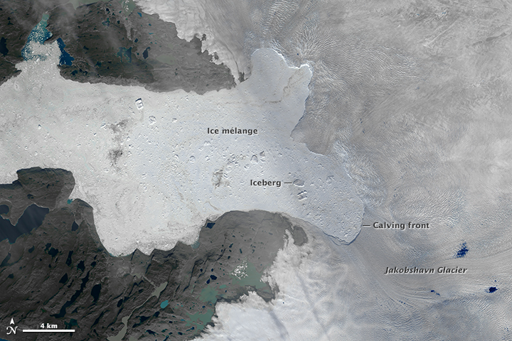 Image of the Jakobshawn Glacier collected by Landsat 8 on August 16, 2015