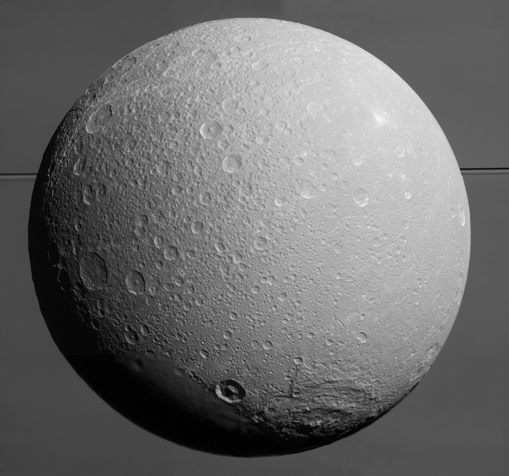 Recent image of Saturn's moon Dione. Photo: NASA