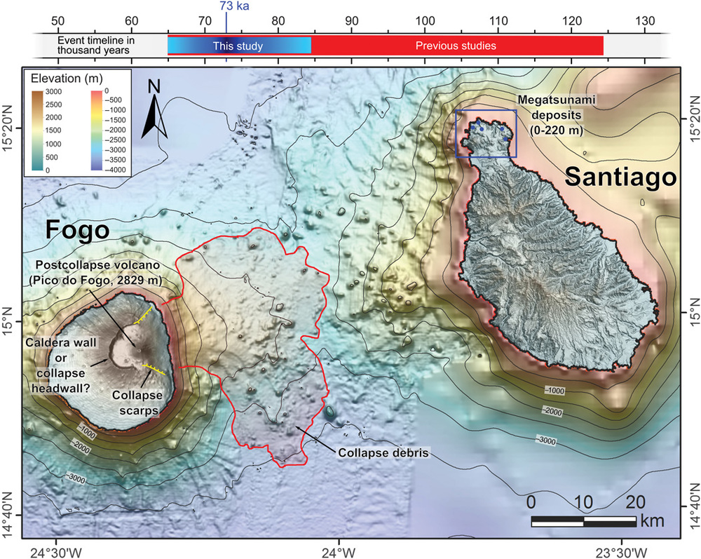 An image of the location of Fogo and Santiago in the Cape Verde Islands. The area of the portion of the volcano on Fogo that collapsed is outlined. This collapse caused Santiago to be hit with a megatsunami. Image: Ramalho et al., 2015. Hazard potential of volcanic flank collapses raised by new megatsunami evidence. Science Advances, 1 (9).