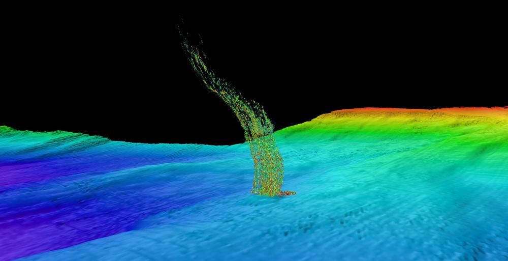 Sonar image of a methane plume bubbling up. Image: Brendan Philip/University of Washington