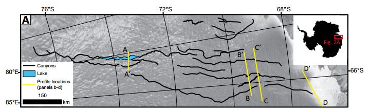 Extent of the massive canyon system lying under the ice in Antarctica (image from Jamieson et al., 2015).