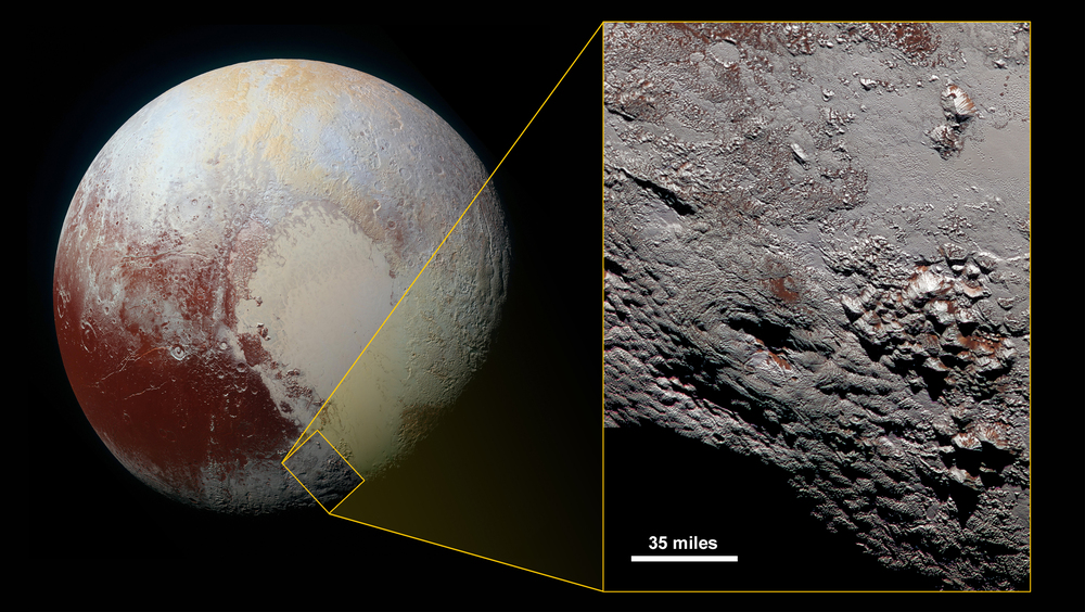 Image of Wright Mons, a possible ice volcano on Pluto (image - NASA).