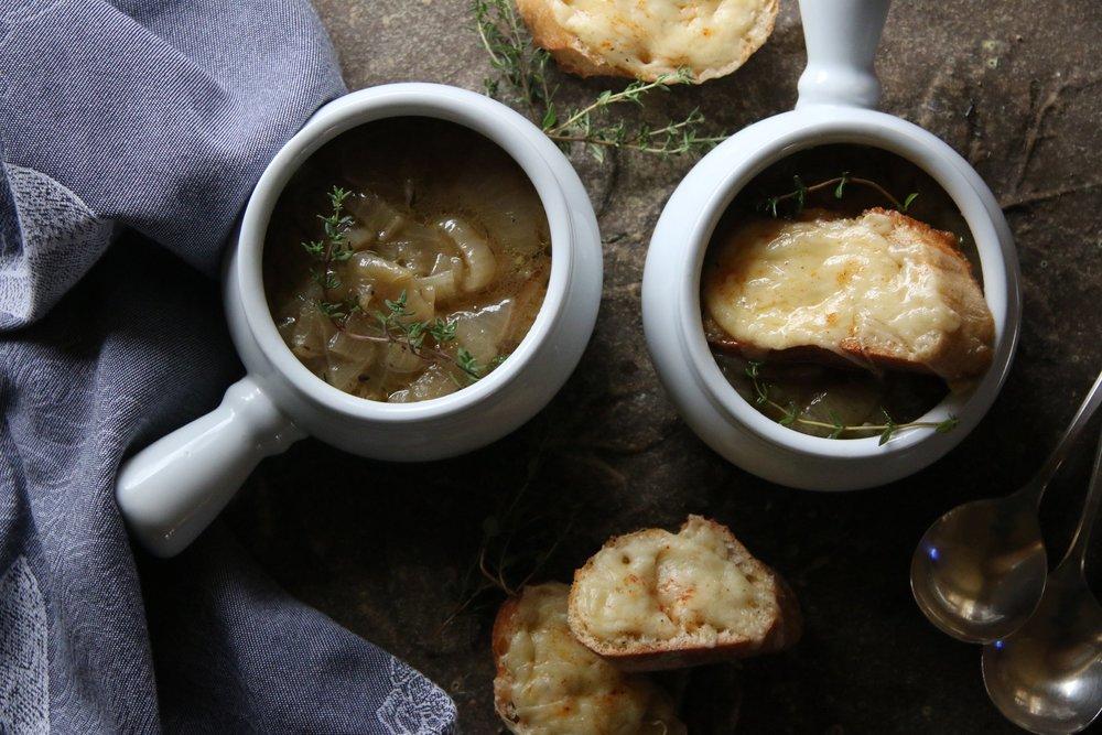 Vidalia Onion Soup with Gruyere Croutons
