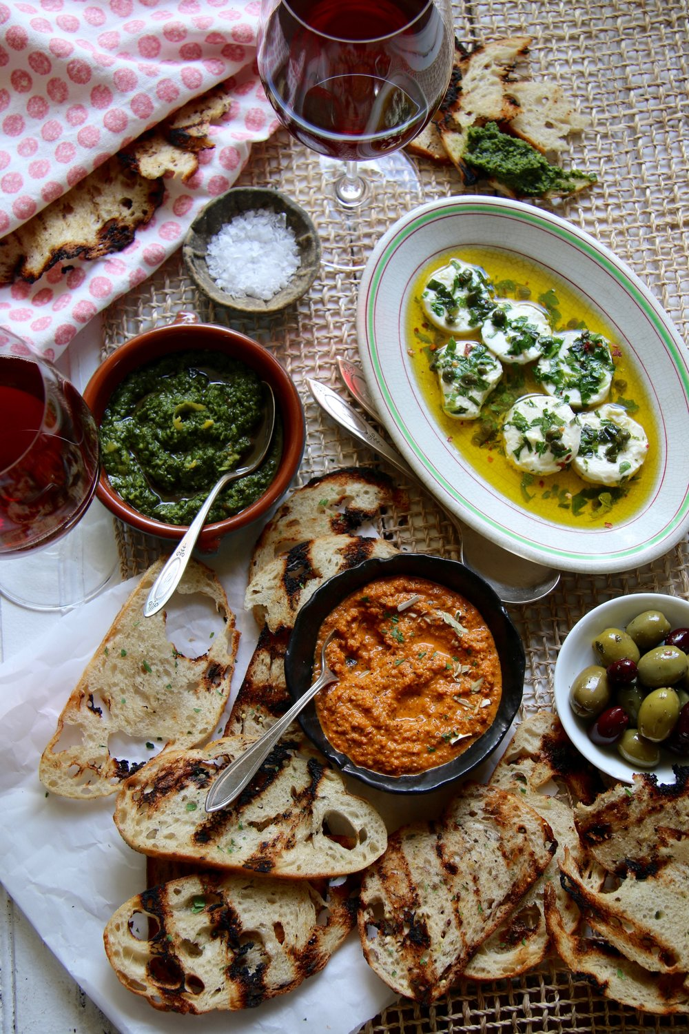 Ready for the toppings? - This garlicy grilled bread is incredible with the following recipes:Herbed Goat Cheese Chimichurri dipping sauceCharred Red Pepper dipping sauce