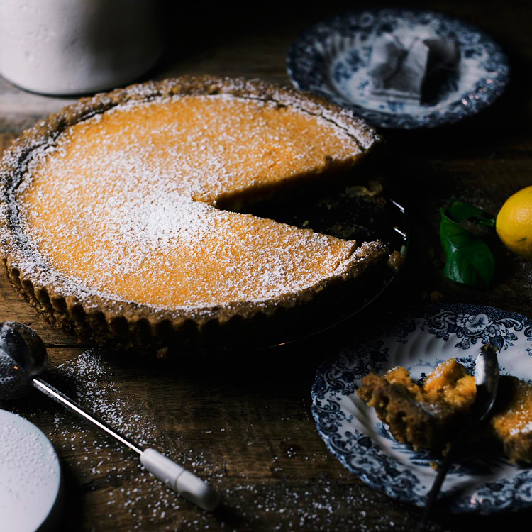 tea and ginger-infused lemon tart