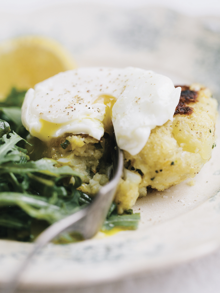 cod cakes with poached eggs