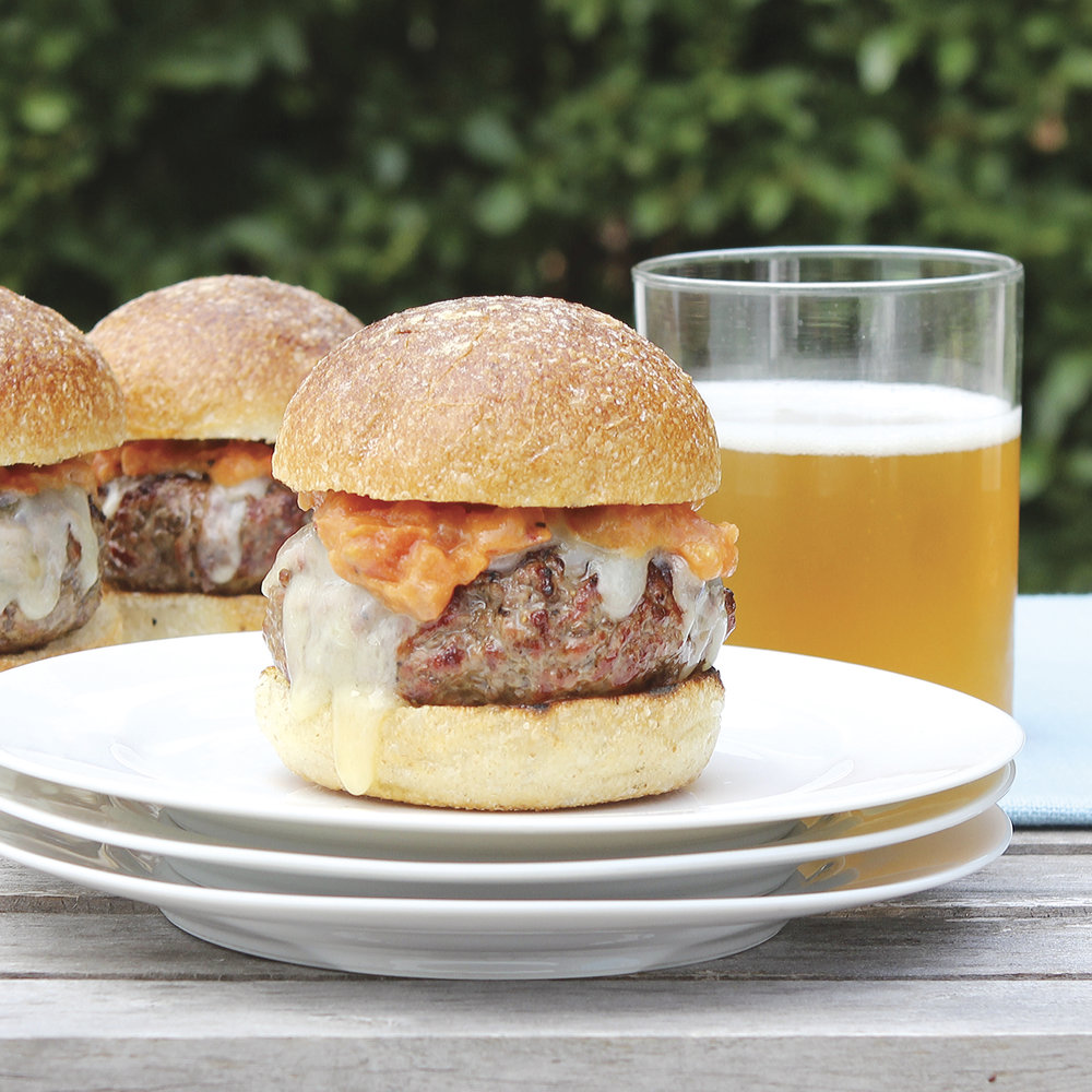 burgers with aged cheddar + homemade tomato jam