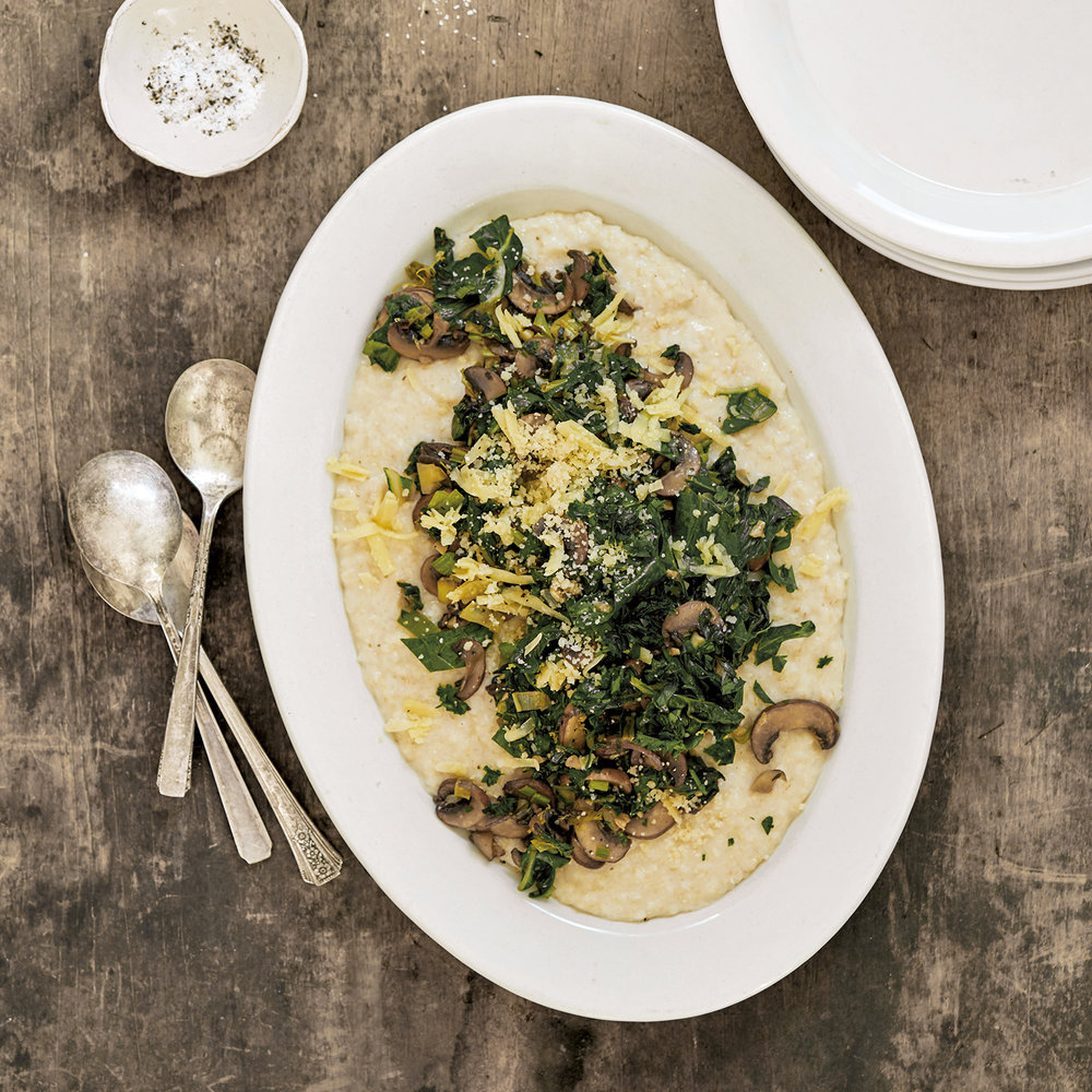 brown rice grits with greens