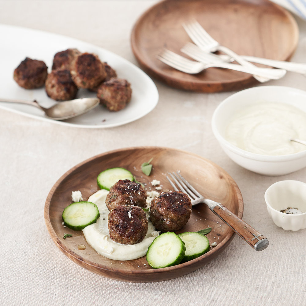 lamb meatballs with yogurt-feta sauce