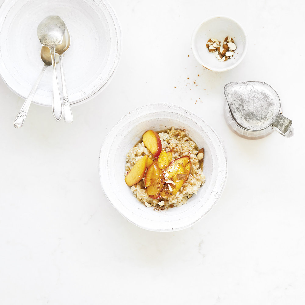 steel cut oats with caramelized peaches