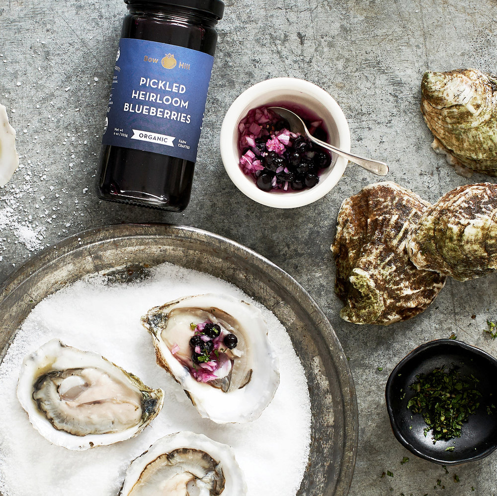 oysters with pickled blueberry mignonette + mint