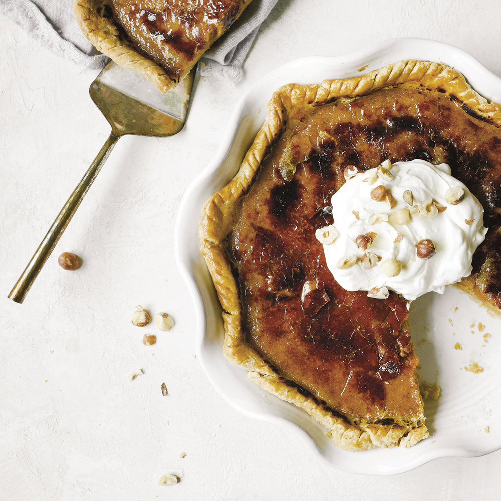 brûléed pumpkin pie with bourbon whipped cream