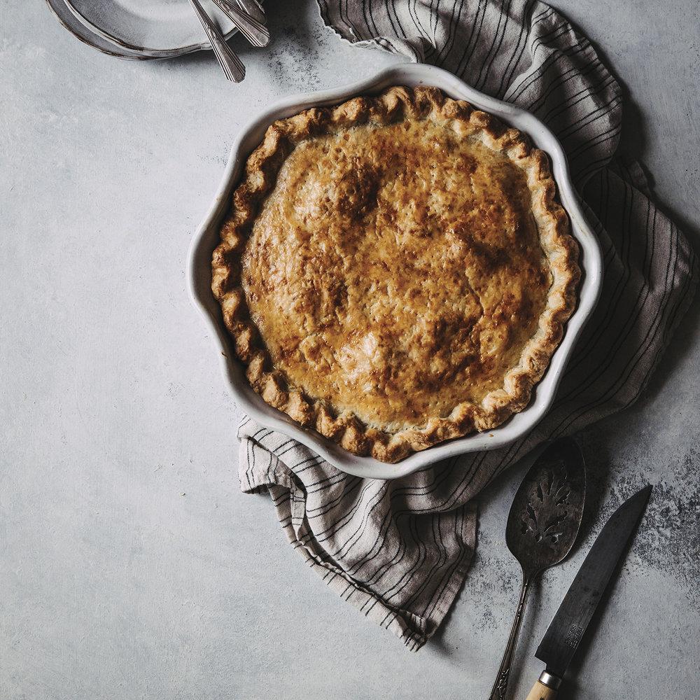 sausage, apple + fennel pie in a Gouda crust