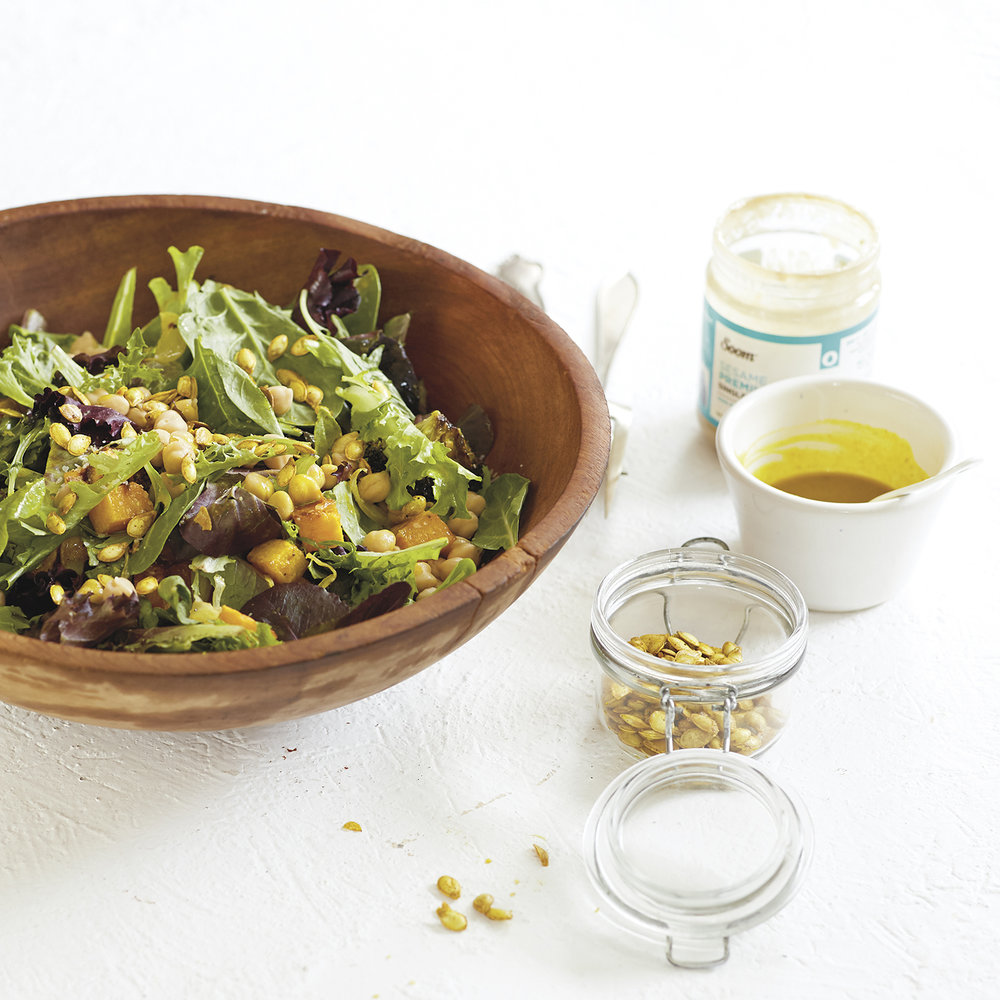 roasted squash salad with turmeric squash seeds