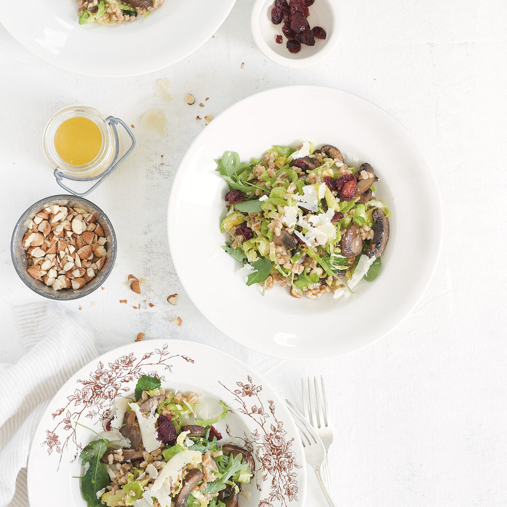 roasted mushroom + farro salad