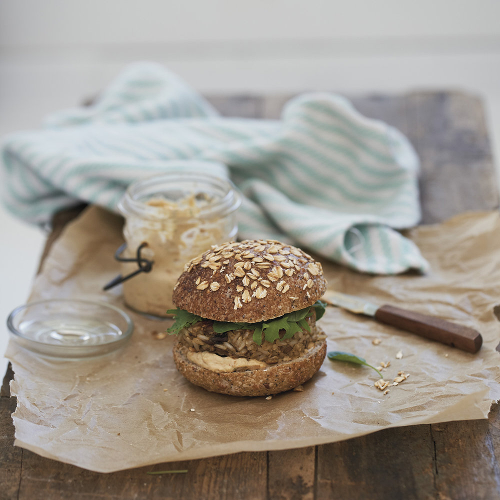 mushroom + brown rice burger with sun-dried tomato mayo