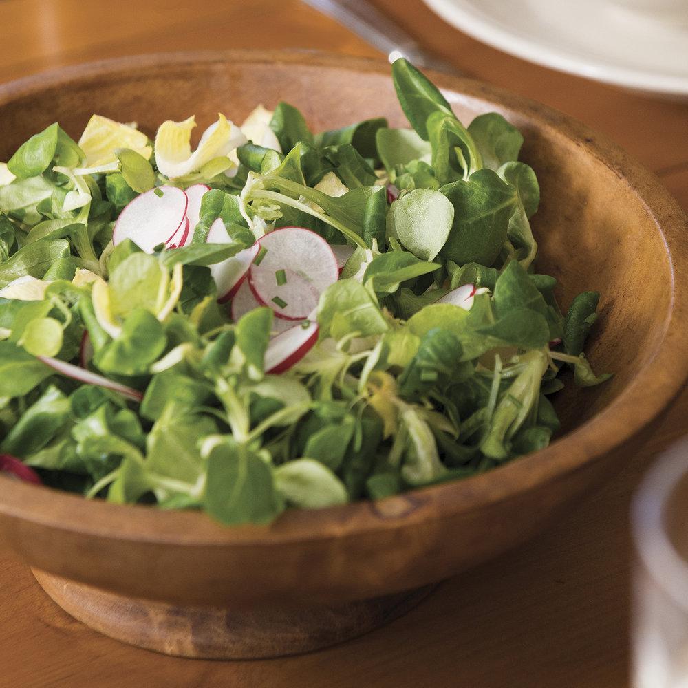 mâche salad with lemon crème fraîche vinaigrette