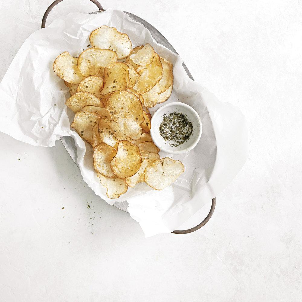 homemade potato chips with nori salt