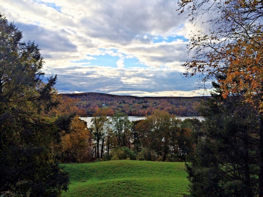 Breathtaking autumn view of the Hudson River, taken from Vanderbilt Mansion, a National Historic Site, Hyde Park, NY.