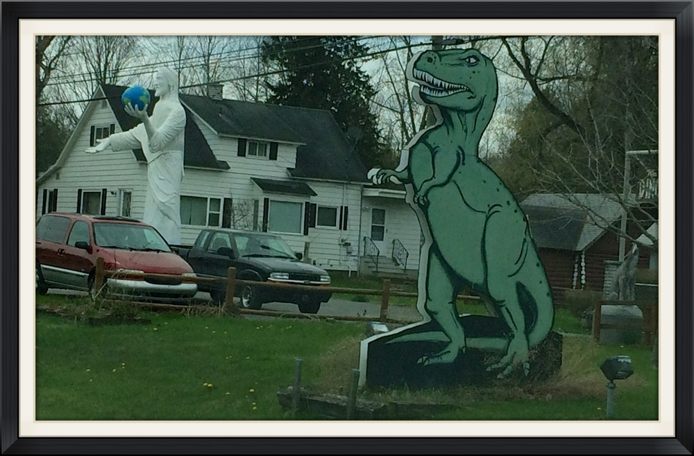 And you never know what you'll find while you're driving around. Who knew I'd see a Jesus statue and dinosaur cutout so close together?