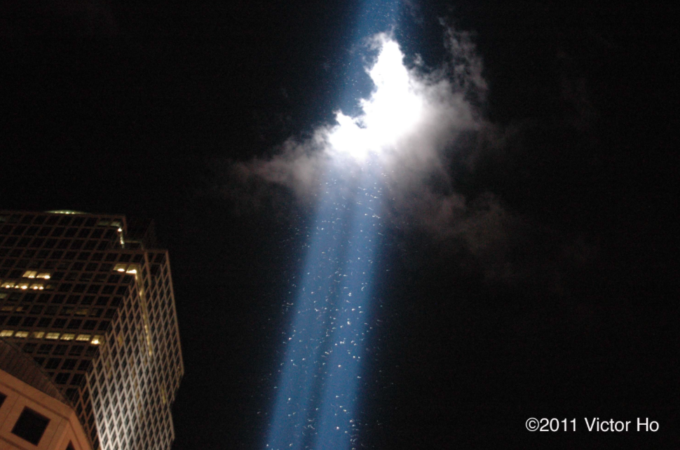 This image was taken by  Victor Ho  on September 11, 2011. Every speck in the light is a bird like a warbler, vireo or thrush. The memorial has to be turned off for a few minutes when this happens so the birds will continue south.