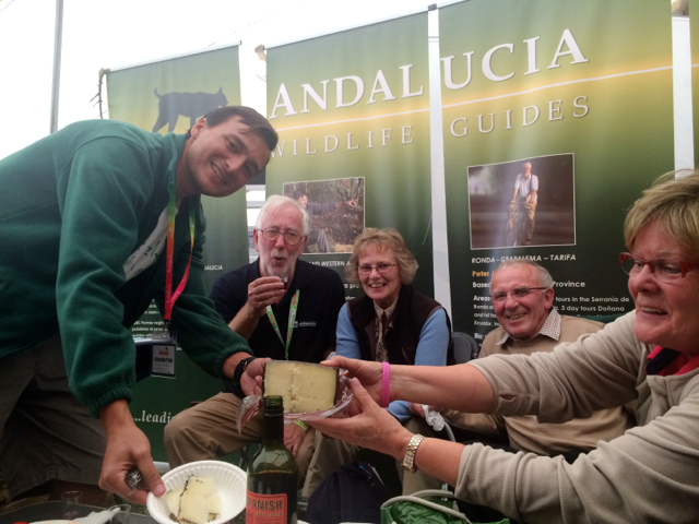 I think this photo of the Andalucia Birding booth in Spain sums up what a lot of BirdFair 2014 was for me. Friends sharing ideas, business plans, great foods and maybe a drink or two. The gent in the middle with the beard is my friend Peter Jones who I met birding in Israel a few years ago.