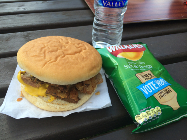 """The Pork Roll at BirdFair offered at one of the smaller lunch stands away from the main food area--best sandwich there for non-vegetarians. And the British are brilliant--you have the option of adding extra """"crackling"""" to your sandwich aka very crisply pork fat."""