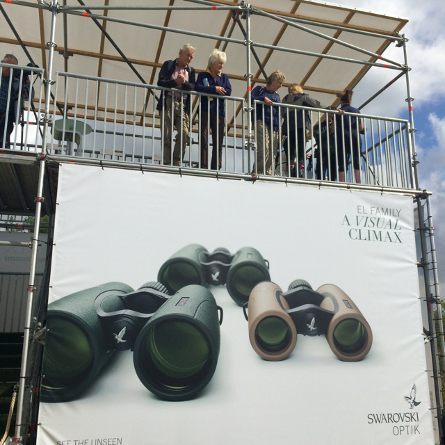 Swarovski not only had a booth, but a tower to test out digiscoping equipment on Rutland Water.