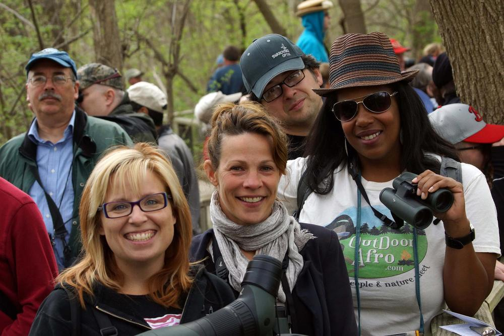 Birders pack the Magee Marsh boardwalk.