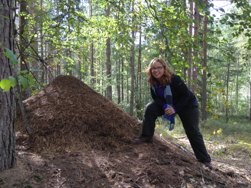 Me next to an ant mound. As part of of our survival training we got to taste ants. They had a citrusy flavor when stressed.