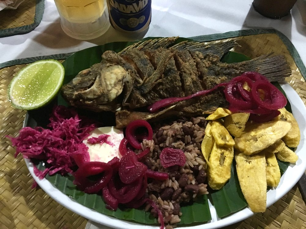Every fish dish I had in Honduras was fresh and tasty and served with plantains.