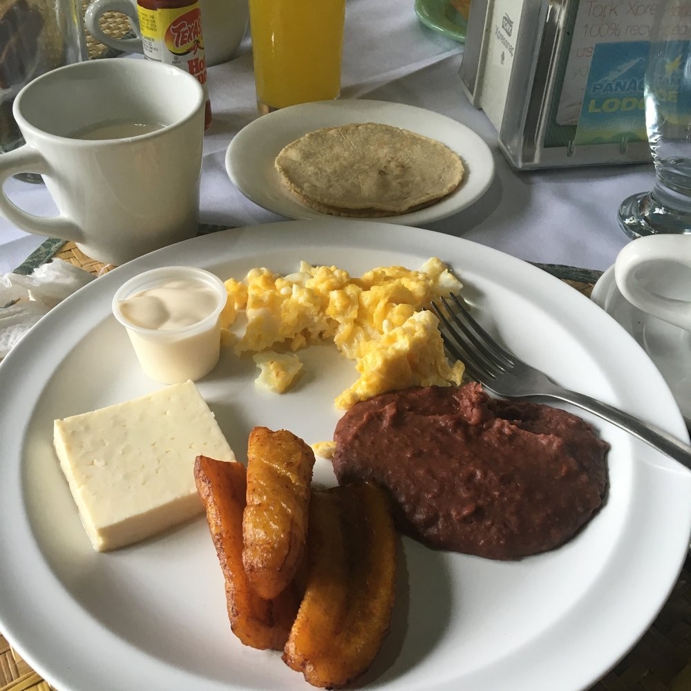 A simple breakfast to start the day at Panacam Lodge. I swear I could live on nothing but cheese and plantains in Honduras.