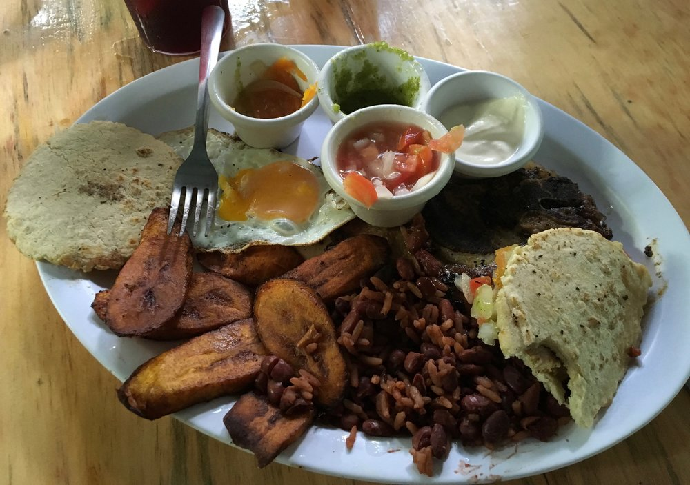 Rice, beans, plantains...a common addition to most meals in Honduras. Mmmmm. The lovely thing about the beans in Honduras is that they have a loverly caramelized, earthy flavor. I'm sure this is some form of lard added to it. But they are delicious.