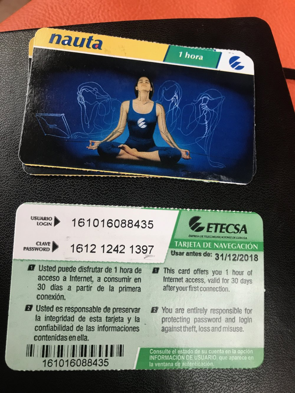 One of the Internet cards you can purchase that grant you 60 minutes of Internet usage in Cuba.