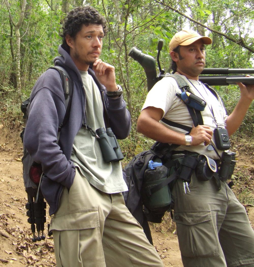 One of our guides Hugo on the left. Gustavo on the right holding my scope...note how much equipment he was carrying besides my scope.