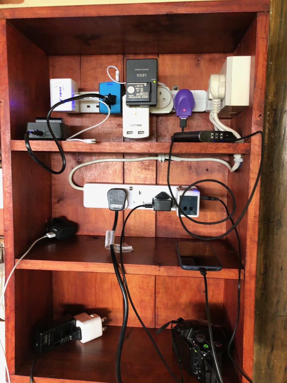 The lodge charging station…at a slow time.