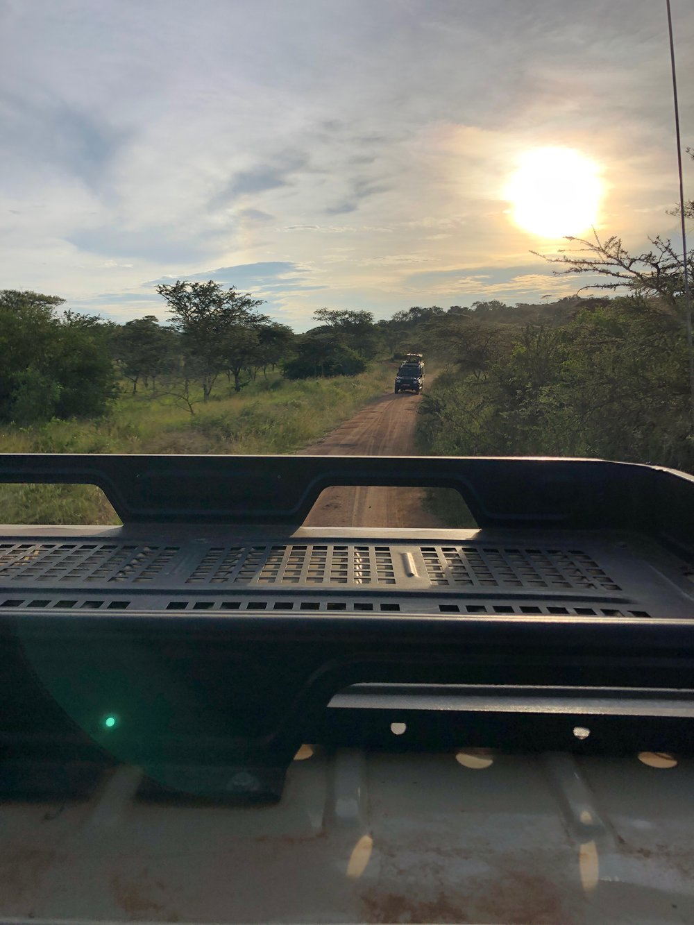 The view from my safari vehicle with another not far behind.