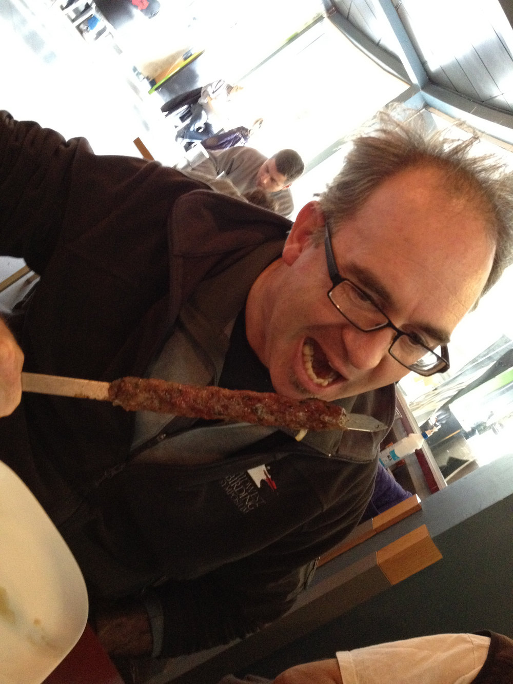 BT3 and I shared a skewer of turkey testicles in Israel.