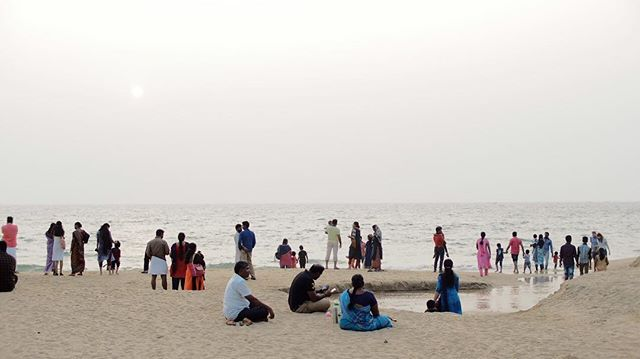 Moon (and/or ocean?) admirers #india #moment #moon #ocean #admiration