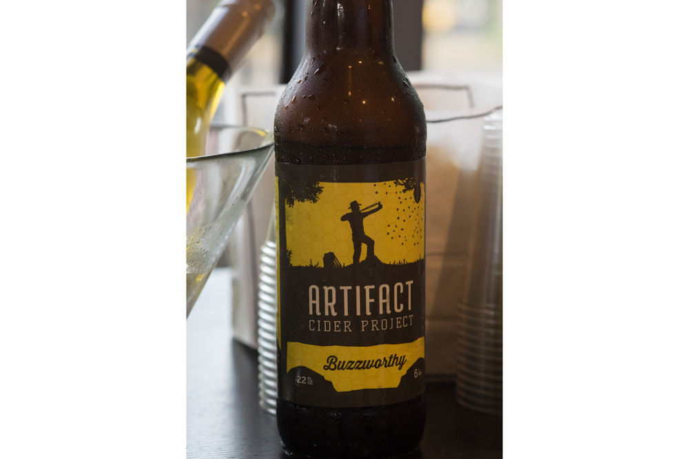 Artifact Cider , a micro-cider brewery in Springfield, MA, was kind enough to donate their hard ciders for us to enjoy. Here is a close up of the newest hard cider, Buzzworthy.