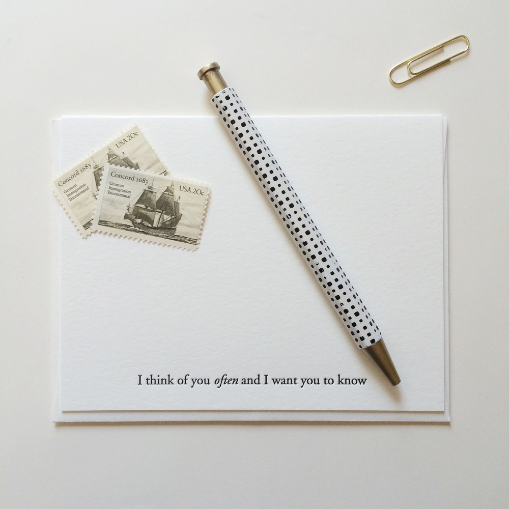 I think of you often and I want you to know | Of Note Stationers