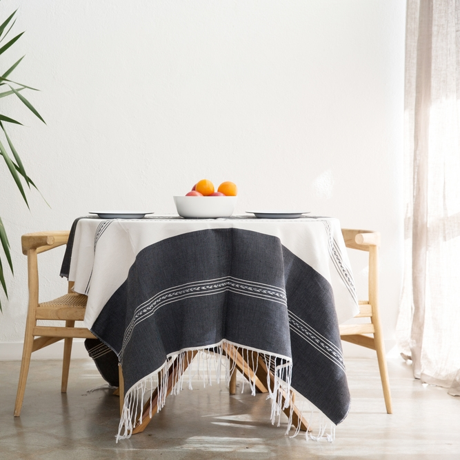 Woven Black and Ivory Tablecloth by Lola Y Tula