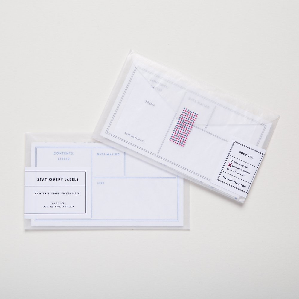 Eva Moon Press Stationery Labels included in our Letter Writing Essentials.