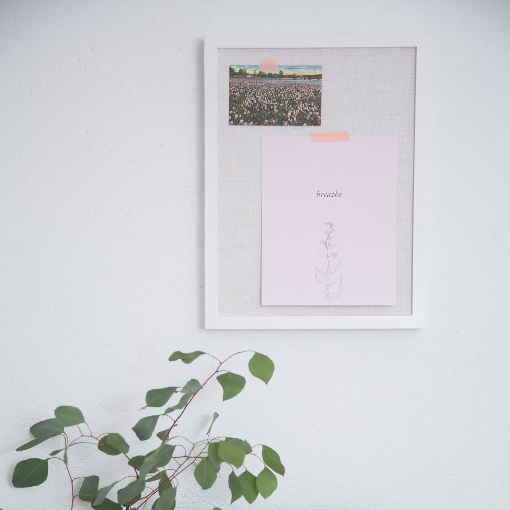 Breath is nourishing for the mind and body. Hang this print as a reminder to take a moment to stop and breathe. What are you grateful for in this moment?
