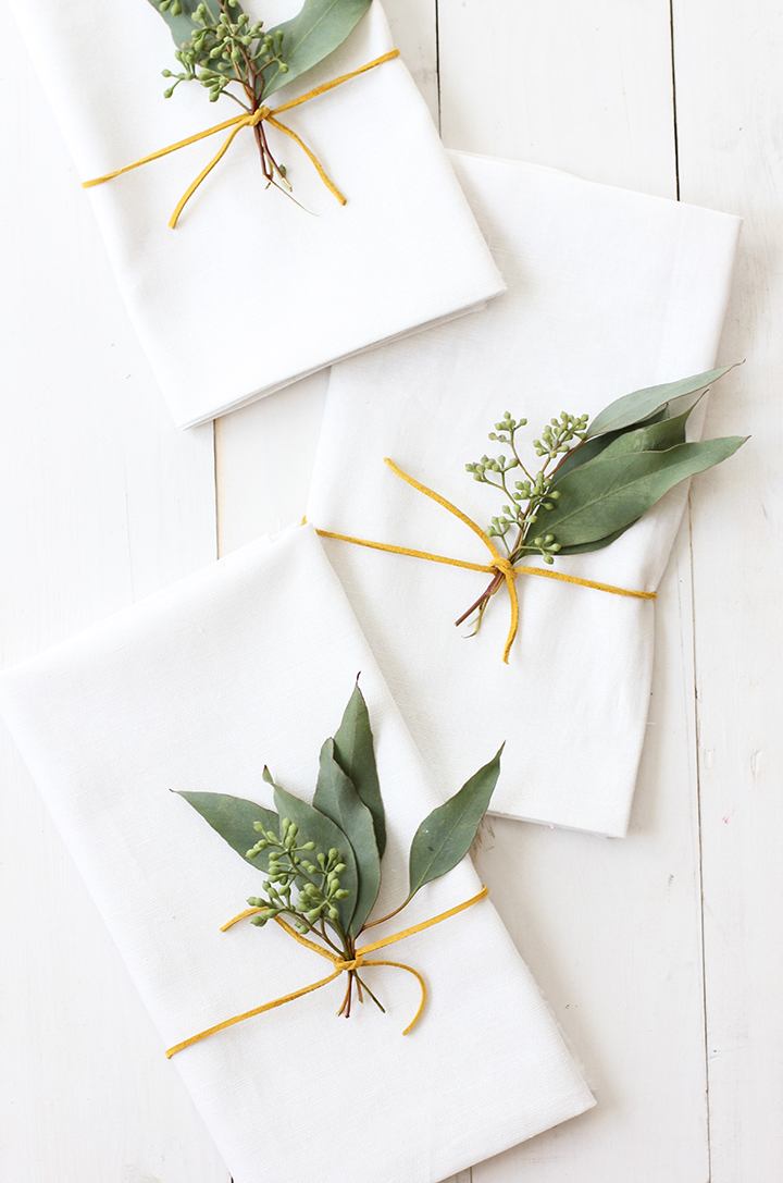 2. Add a little greenery, which will compliment our place cards nicely.