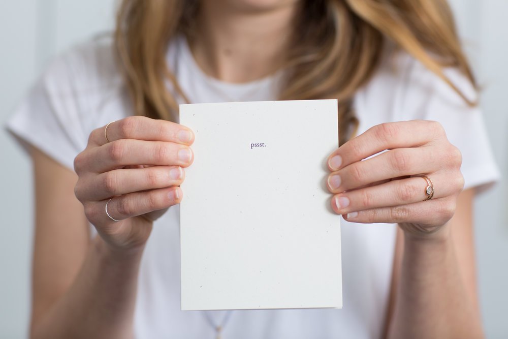 Pssst. a Letterpress Card for you Secrets | Of Note Stationers