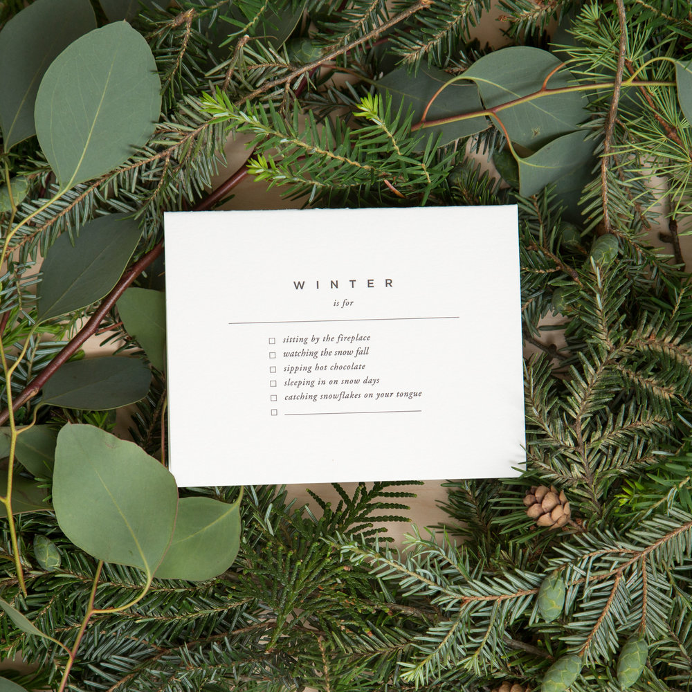 """Write your seasonal intentions inside  this card  and use the blank space on the front to summarize, e.g. """"Winter is for slowing down."""""""