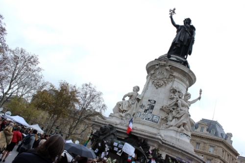 The center of memorials and media at the Place de la Republique