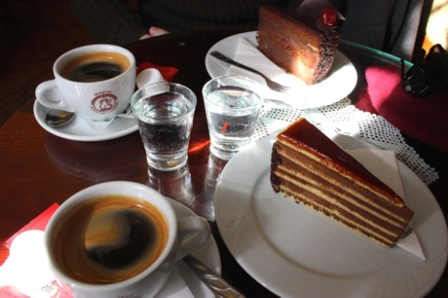 Cake and coffee time in Budapest...
