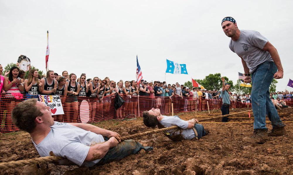 Grant Hughes, a WKU alum, encourages members of Alpha Tau Omega during the annual TUG event.